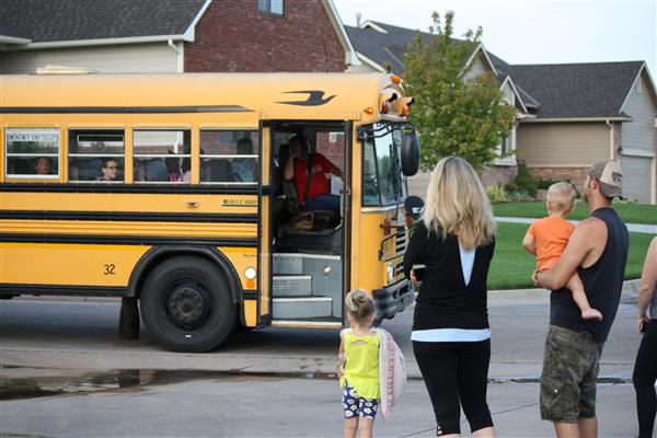 Maize USD 266 families see their child off to school in the morning.