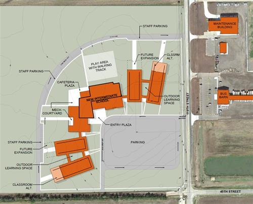 ABOVE: Preliminary plans for the north intermediate school at 45th Street North and 119th Street in Maize.